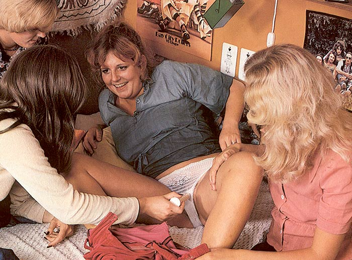 Four hairy lesbians in naughty seventies dessert picture