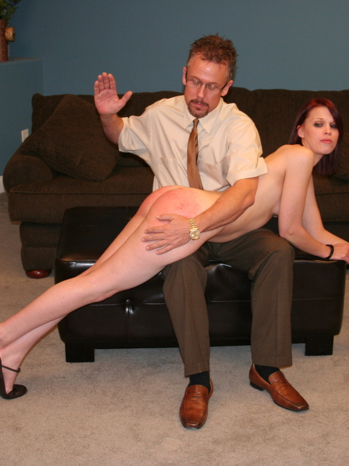 Horny Spanking - This horny redhead beauty gets her big ass spanked by daddy ...