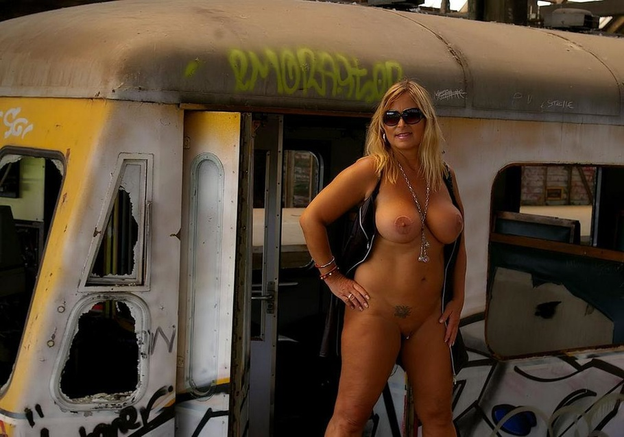 Big tits on train