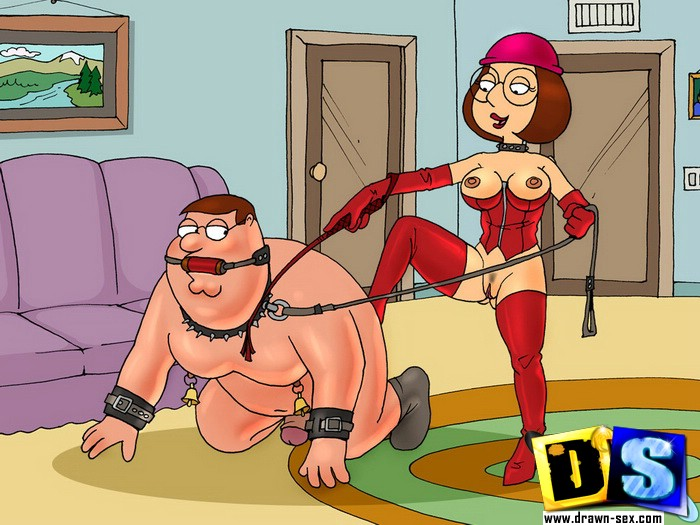Fat toon guy lifts toon chick on his pussy to fuck and guy on knees with dog chain