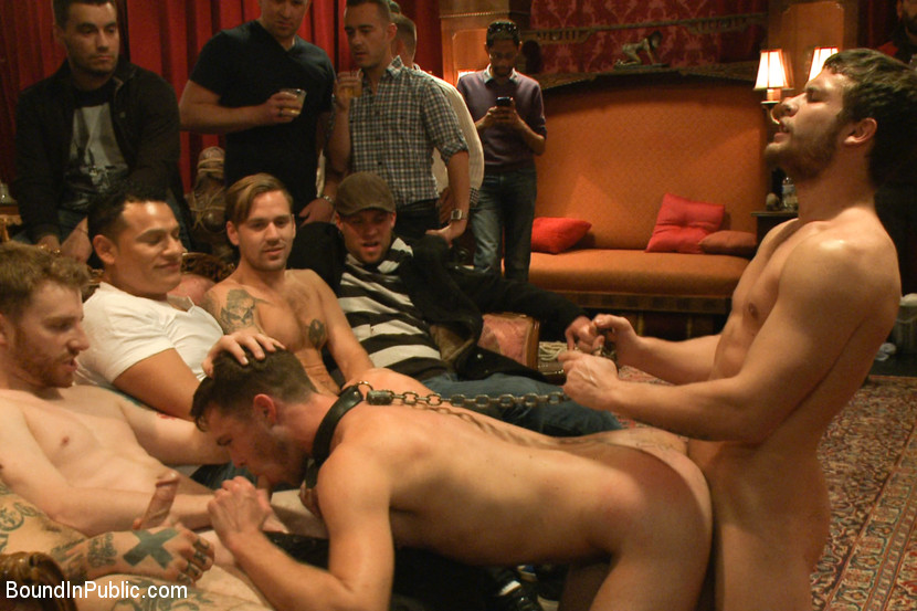 Gay being fucked public at a party