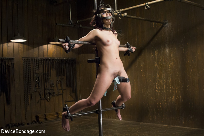 Bondage girl getting her pussy fucked with strap on hardcore