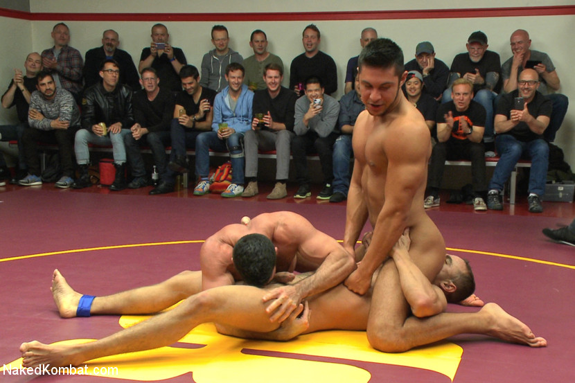 Four nude male studs wrestle before audienc - XXX Dessert - Picture 2