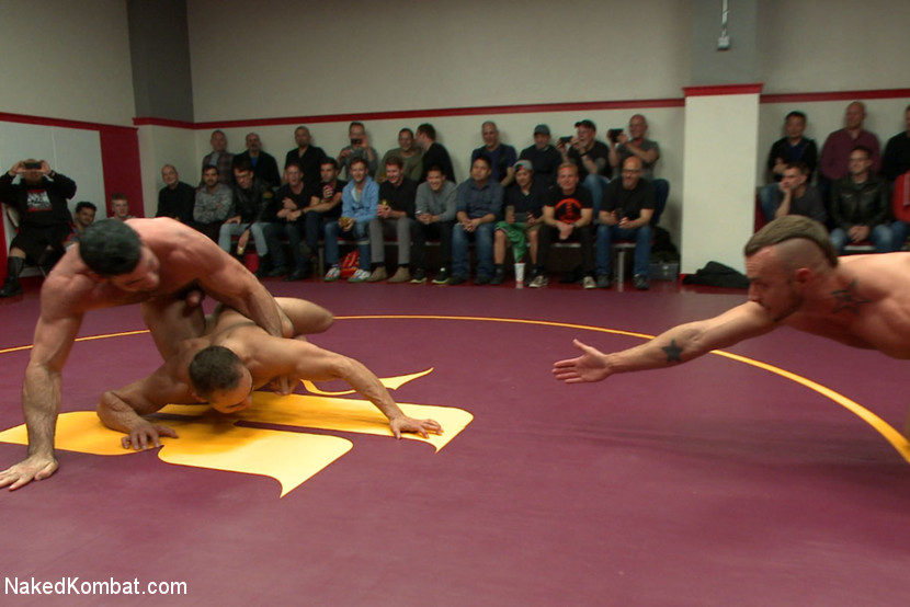 Four nude male studs wrestle before audienc - XXX Dessert - Picture 6