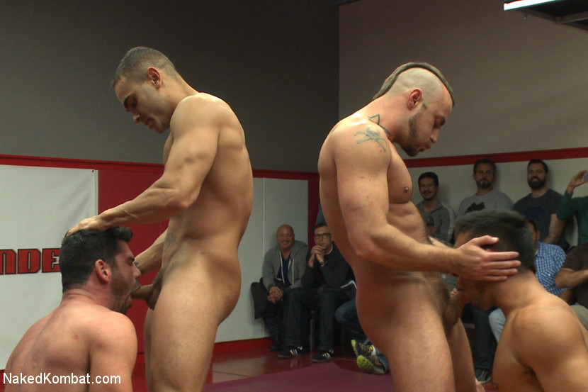 Four nude male studs wrestle before audienc - XXX Dessert - Picture 7