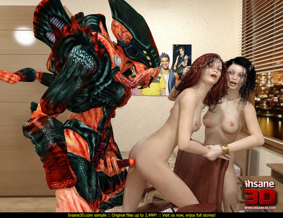 3d Alien Fucks Girl - Huge 3D green and orange alien fucks dirtily brunette and red college girls  - CartoonTube.XXX