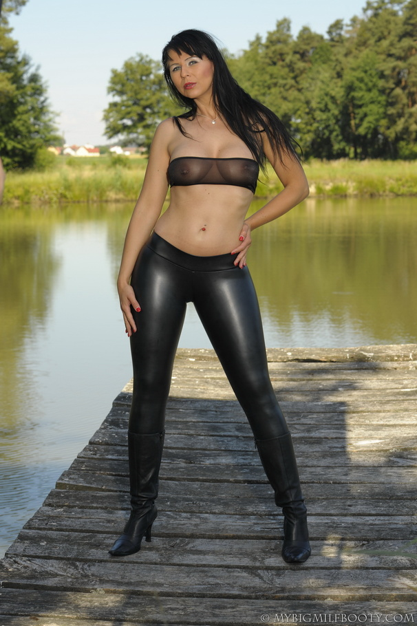 Milf On A Dock By The Lake Is Wearing Tight Black Bottoms -1513