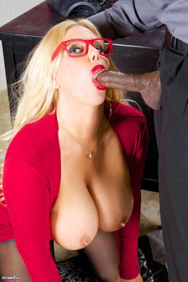 Secretary sucking her boss at work