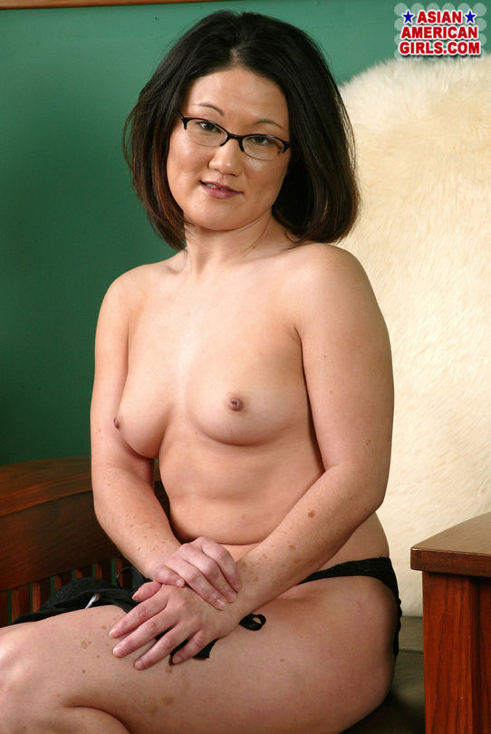 Asian In Glasses, Black Top And Lingerie Shows Small Tits -7952