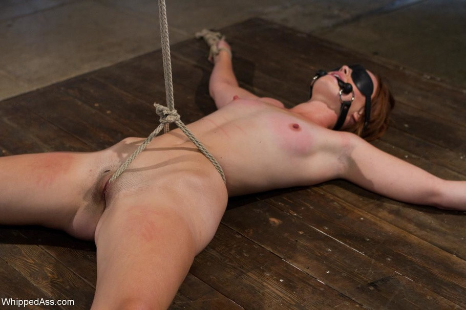 redhead chick gets tied up and ass drilled with a sex toy