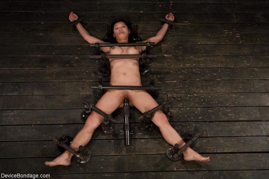 4spread eagle bondaged slut in thigh high boots monster dildo fuck orgasm 6