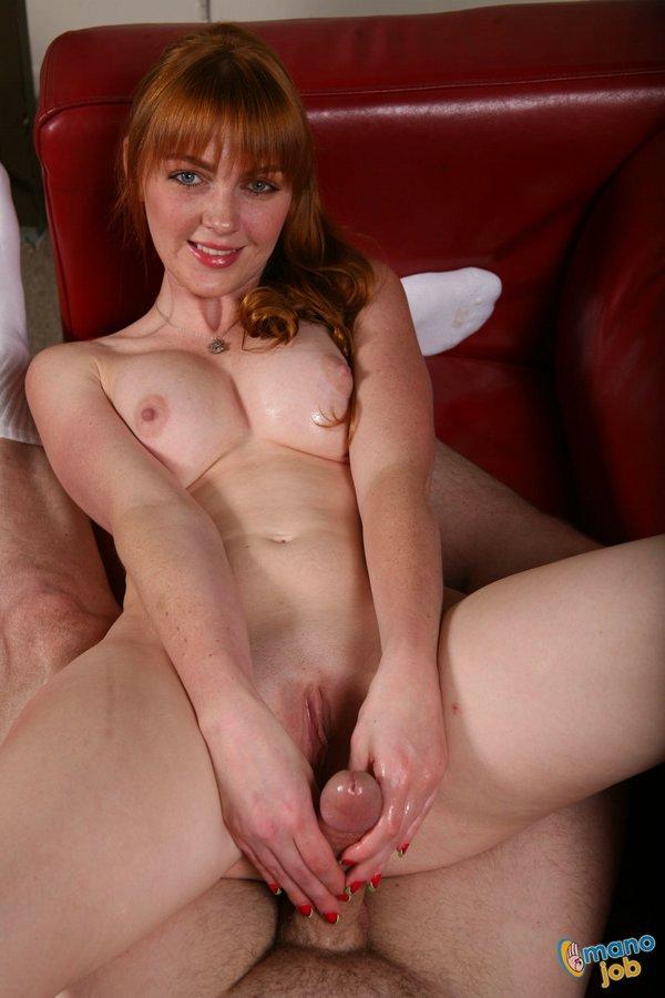 Redhead and handjob