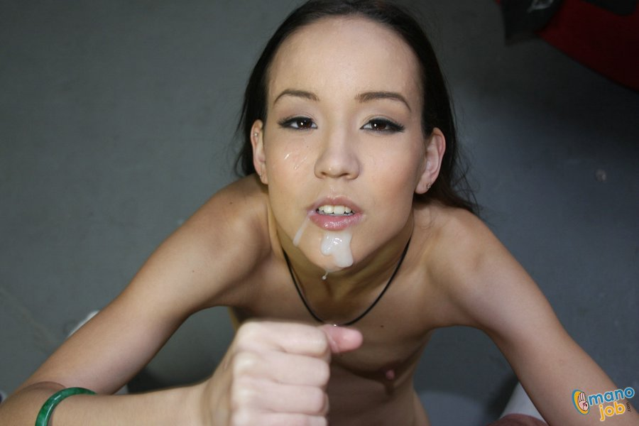 Petite asian girl in lingerie gives you a sloppy blowjob