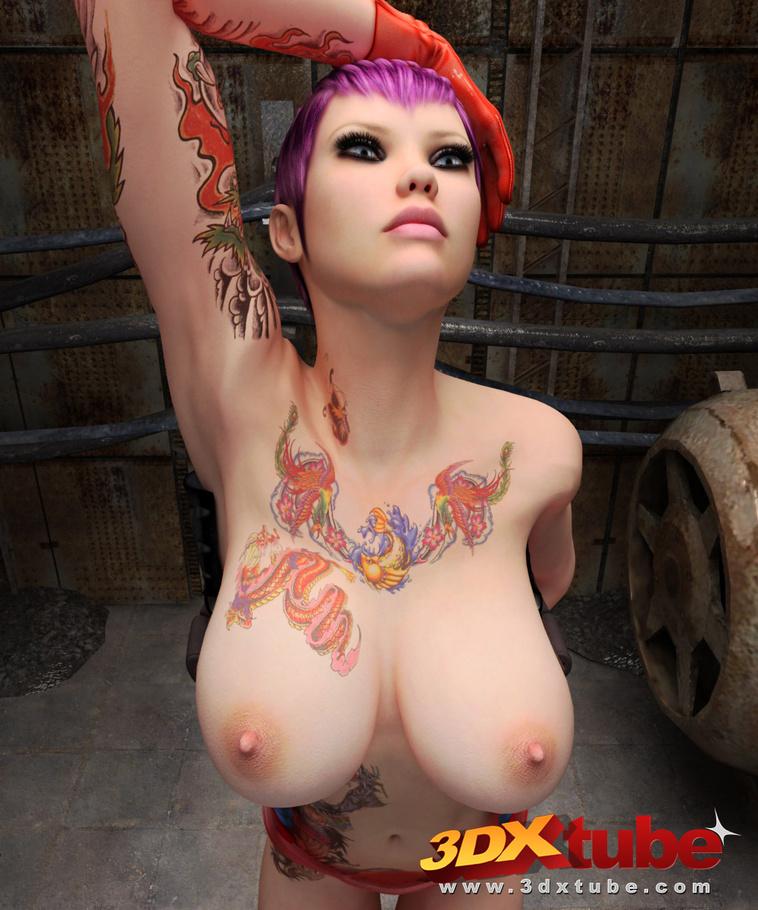 Purple hair big tits