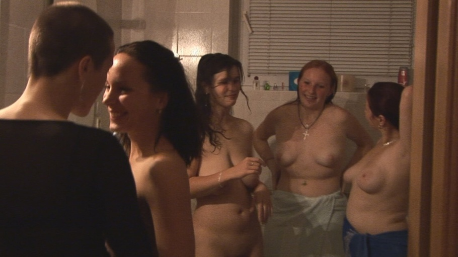 A group of naked girls sings karaoke 7