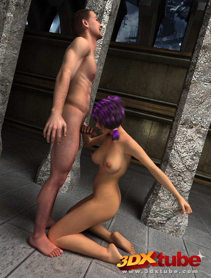Playmate with purple hair is fucked on a cold stone floor in the doggy-style  stance. - CartoonTube.XXX