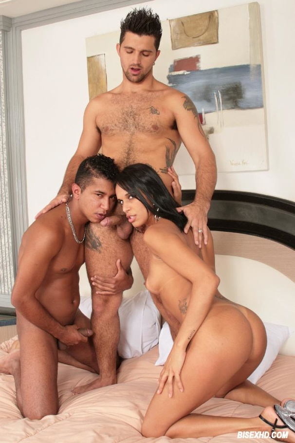 Nasty guy sucking cock in threesome