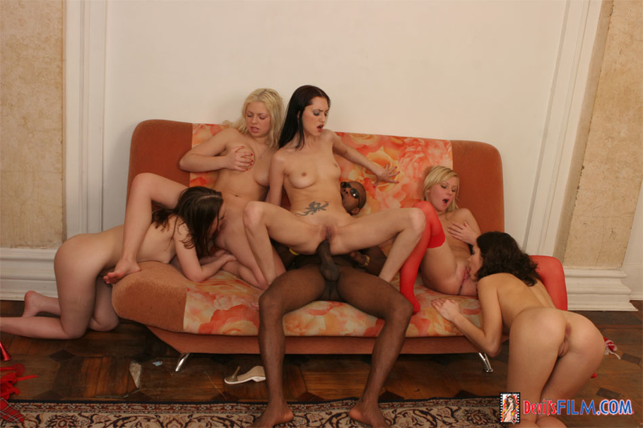 Interracial Banging On The Red Couch