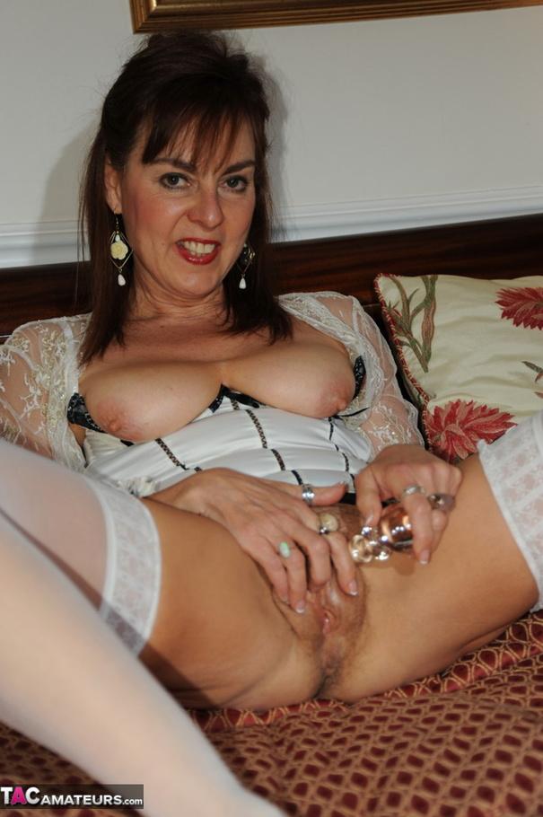 Brunette in white sexy lingerie on cam 7