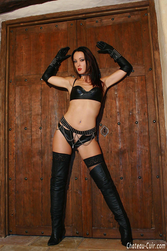 boots gloves - Red Lipped Babe In Leather Gloves And Boots Slowly Taking Off Black Undies  To Expose Her Shaved Fuck Holes - YOUX.XXX