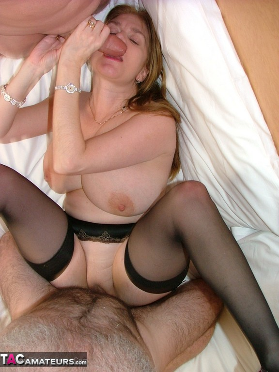 Threesome for chubby mature in white stockings