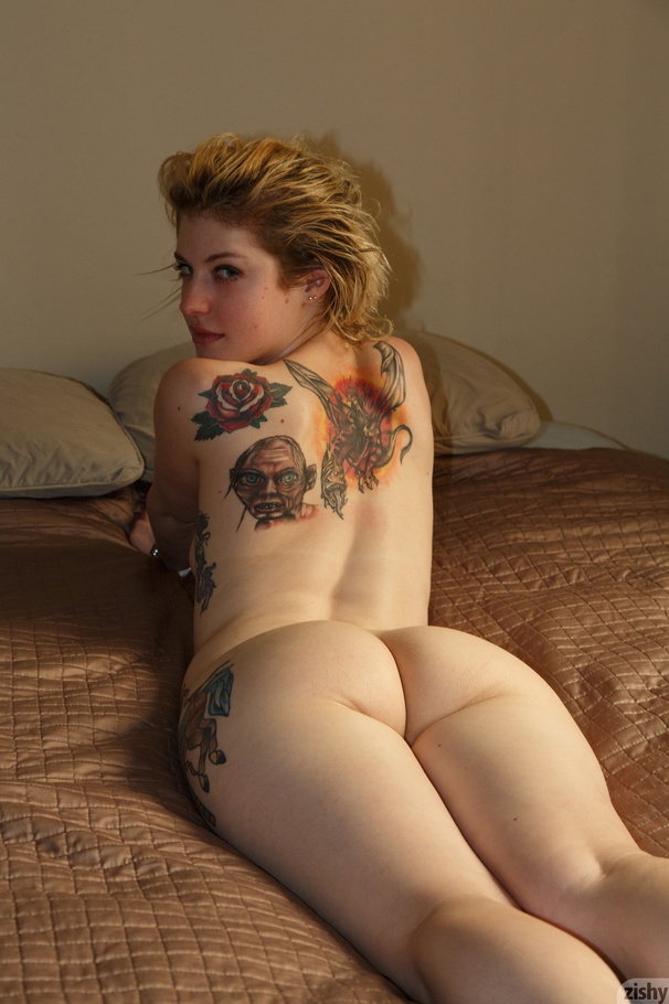 Naked girl with bedpost