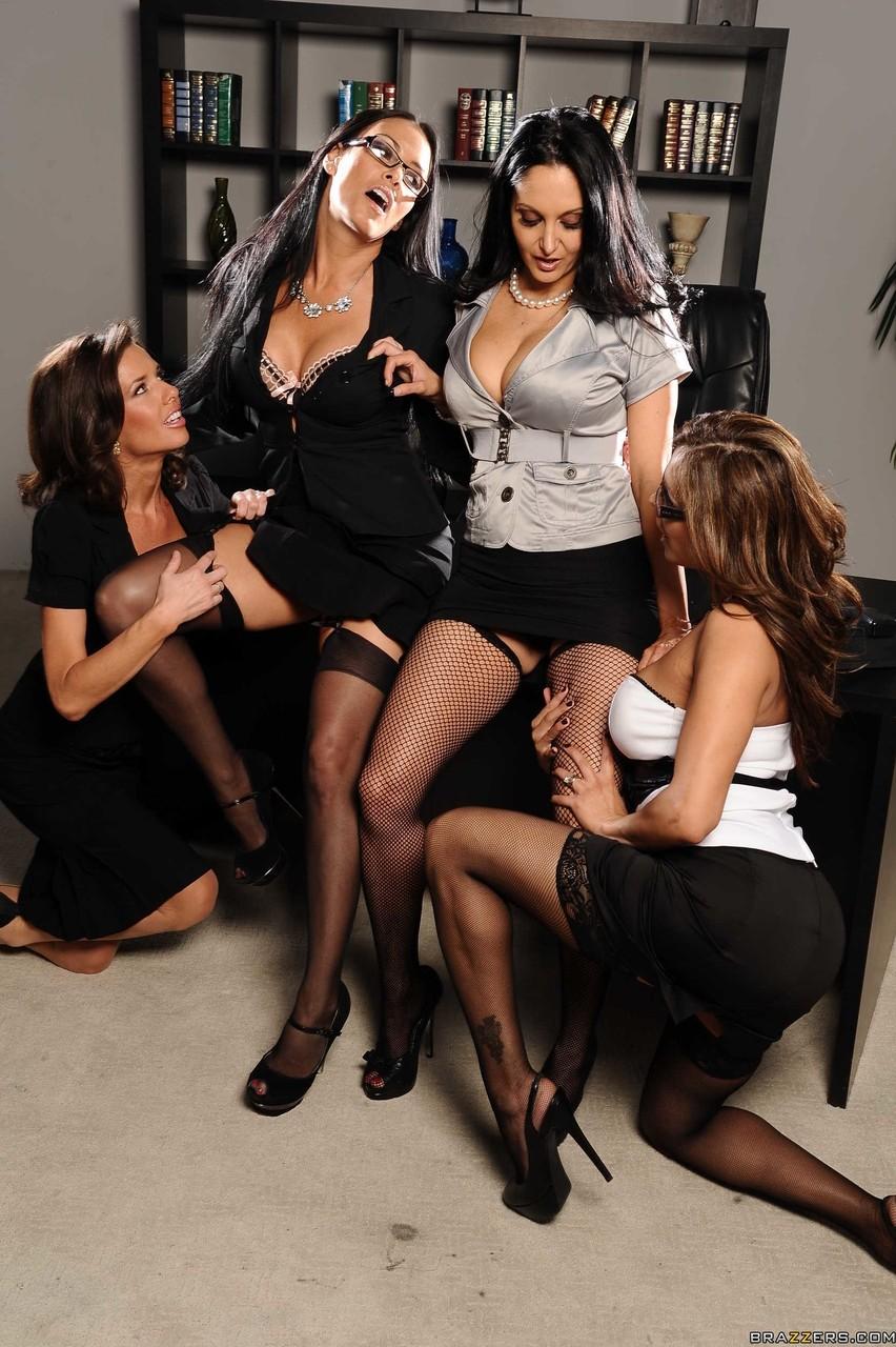 Stockings lesbian orgy consider