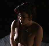 Petite redhead 18 yo Shiraz from Australia in stockings pleasing her wet
