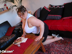 Big tittied brunette fat mom slowly taking off her tight - Picture 2