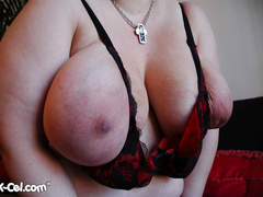 Big tittied brunette fat mom slowly taking off her tight - Picture 6
