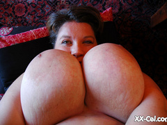 Big tittied brunette fat mom slowly taking off her tight - Picture 10