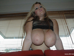 Lusty blonde plumper undressing and playing with her big - Picture 9