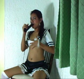 Cute lonely Maria uses a vibrator to stimulate her pussy until achieving