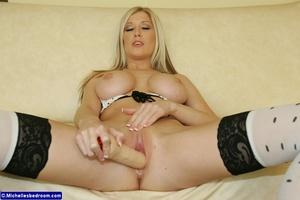 Busty Blonde Slut Fucking Herself with H - XXX Dessert - Picture 15
