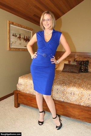 In sexy blue dress getting naked - XXX Dessert - Picture 1