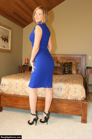 In sexy blue dress getting naked - XXX Dessert - Picture 3
