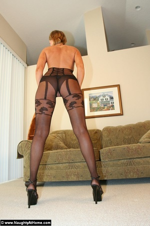 In Black Nylon Bodysuit Showing Pussy - XXX Dessert - Picture 3