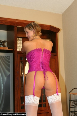 Wife wearing purple bustier with garters - XXX Dessert - Picture 4