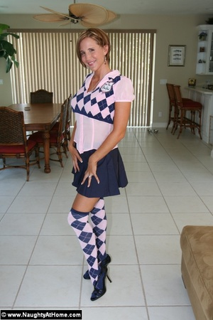Sexy wife in naughty school girl outfit  - XXX Dessert - Picture 1