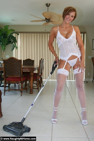 Hot Busty Wife In White lingerie strips  - XXX Dessert - Picture 2