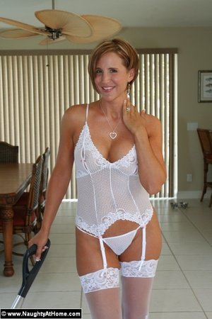 Hot Busty Wife In White lingerie strips  - XXX Dessert - Picture 4