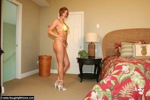 Busty milf wife in tiny yellow bikini ge - XXX Dessert - Picture 1