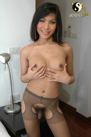 Asian ladyboy stockings