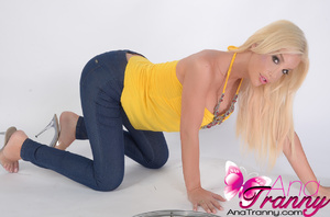 Sexy blonde tranny with huge tits wearin - XXX Dessert - Picture 8