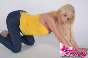 Sexy blonde tranny with huge tits wearin - XXX Dessert - Picture 9