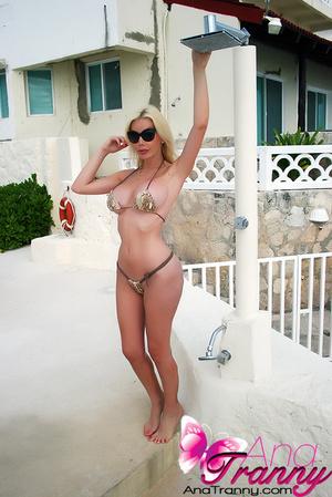 Wet Transgendered Babe in Bikini shows h - XXX Dessert - Picture 6