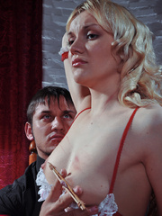 Innocent looking slave hottie in sexy outfit asked to - Picture 8