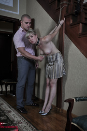 tied blonde slave with