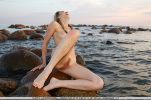 Young model who gets naked on the shore  - XXX Dessert - Picture 1