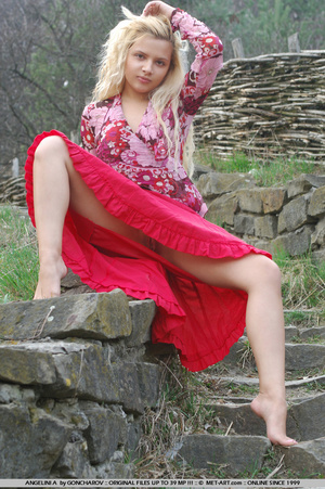Country girl with a hot red dress plays  - XXX Dessert - Picture 17
